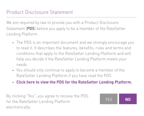 Product Disclosure for Ratesetter Agreement